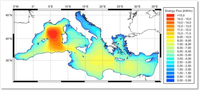 Distribuzione media annuale climatologica dell'energia associata al moto ondoso