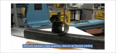 Impianto di filament winding ed esempio di tubo in BasKer prodotto