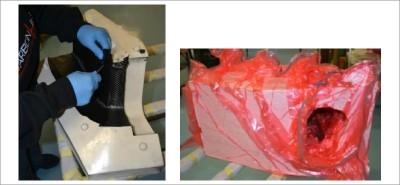 Laminazione di tubo di scarico con prepreg preceramico ed effettuazione del curing in sacco a vuoto (per la gentile collaborazione di Carbon Line Composites sas)