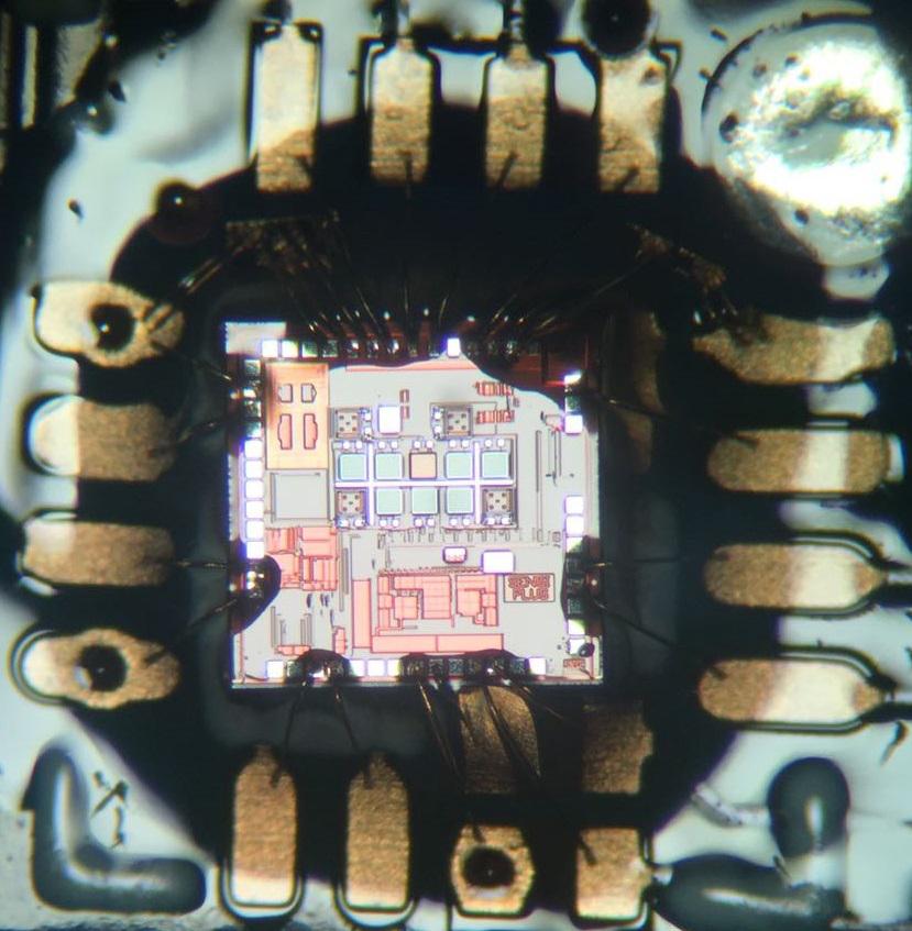 Chip SENSIPLUS montato su una scheda applicativa