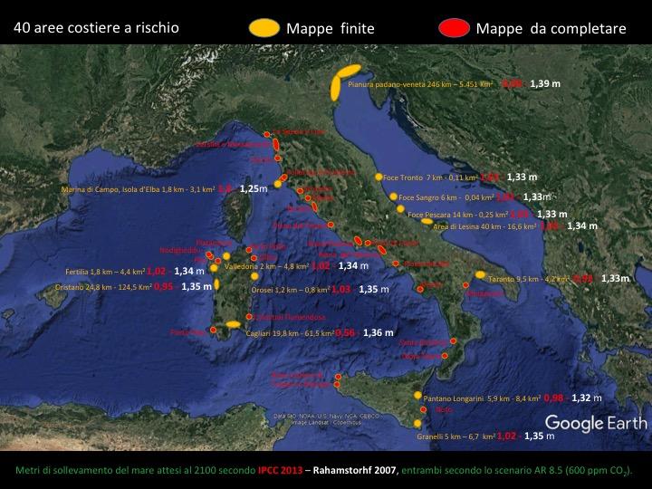 Mappa delle 40 aree costiere a maggior rischio di inondazione in Italia