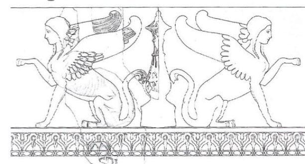 Schema del motivo del fregio delle Sfingi