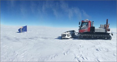 Pistenbully at marked drill site Little Dome C