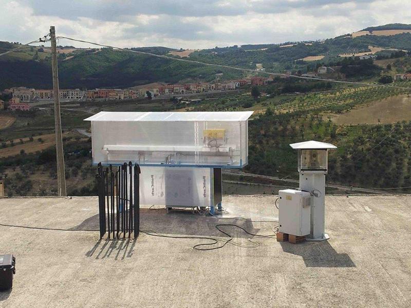 Interferometro a San Giuliano di Puglia per monitorare un sito in frana.