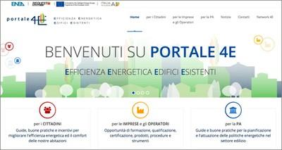 Energia: online il portale 4E dedicato all'efficienza del patrimonio edilizio