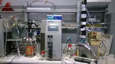 """Apparato sperimentale per fermentazioni """"fed-batch"""" con gas stripping dell'etanolo"""