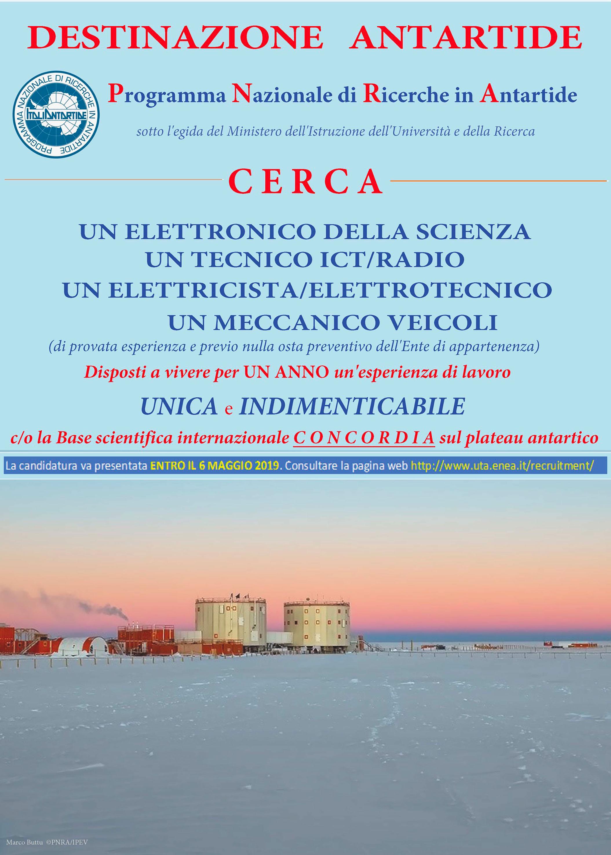 Avviso per tecnici Antartide