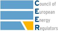 Logo del Consiglio Europeo dei regolatori dell'energia (tag: Logo del Consiglio Europeo dei regolatori dell'energia, raffigurante un quadrato a strisce orizzontali celesti e arancio e l'acronimo CEER)