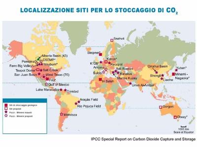 cartina mondo con indicazione dei siti di stoccaggio utilizzabili