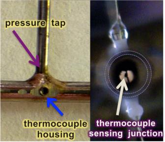 Presa di pressione e termocoppia alloggiata all'interno del microcanale