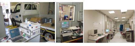 Autocarro IVECO Daily su banco a rulli (sinistra), banco prova motori (centro) e sala di controllo stazione prova azionamenti elettrici-ibridi